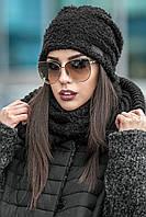 Комплет шапка + шарф стойка № 178, чорна