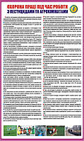 Стенд. Охорона праці при роботі з пестицидами та агрохімікатами. 0,6х1,0. Пластик