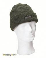 Вязаная, акриловая шапка с утеплителем Thinsulatе, olive