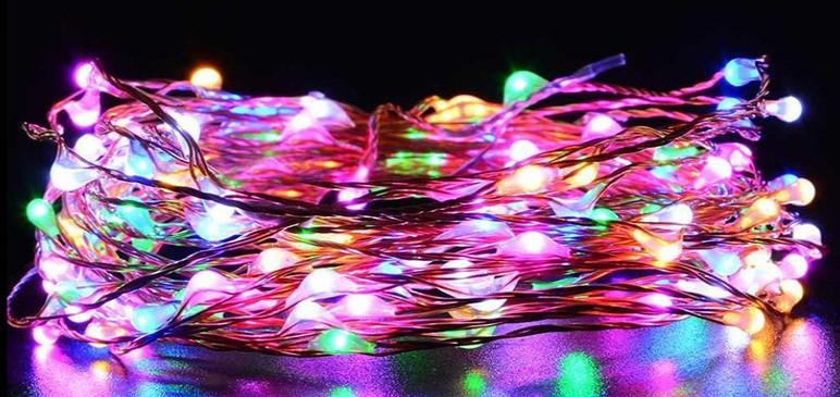 Светодиодная гирлянда нить 10 метров 12 вольт мультицветная