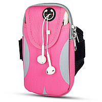 Сумка на руку для телефона для бега и спорта Pink Gray