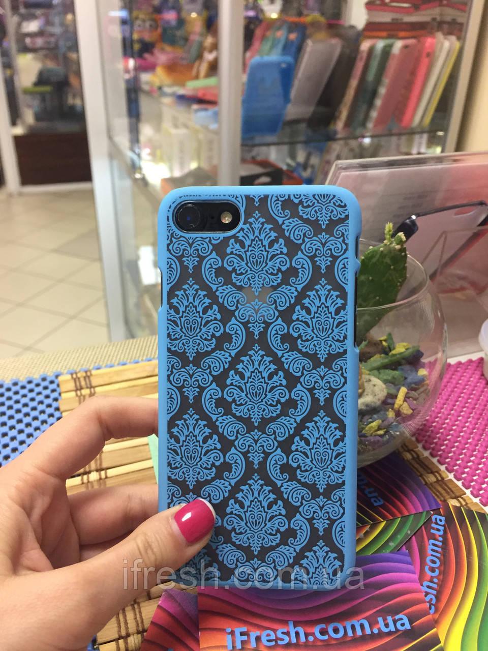 Чехол Кружево для iPhone 7, голубой