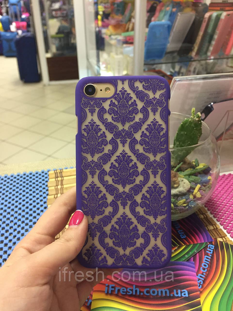 Чехол Кружево для iPhone 7, фиолетовый