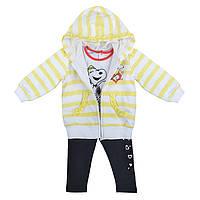 Детский Спортивный костюм из 3-х ед черные штаны ,белая кофта в желтую полосу