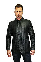 Куртка кожаная стеганая, натуральная, в черном цвете (мужская), фото 1