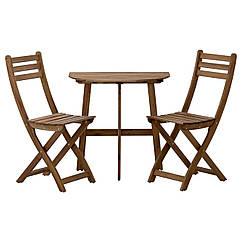 ASKHOLMEN Стол садовый и 2 складных стула, серый/коричневый 191.779.18