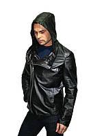 Куртка косуха кожаная со вшитым капюшоном