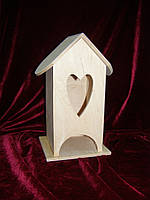 Домик коробка для чайных пакетиков Сердце тильда (10 х 10 х 23 см)