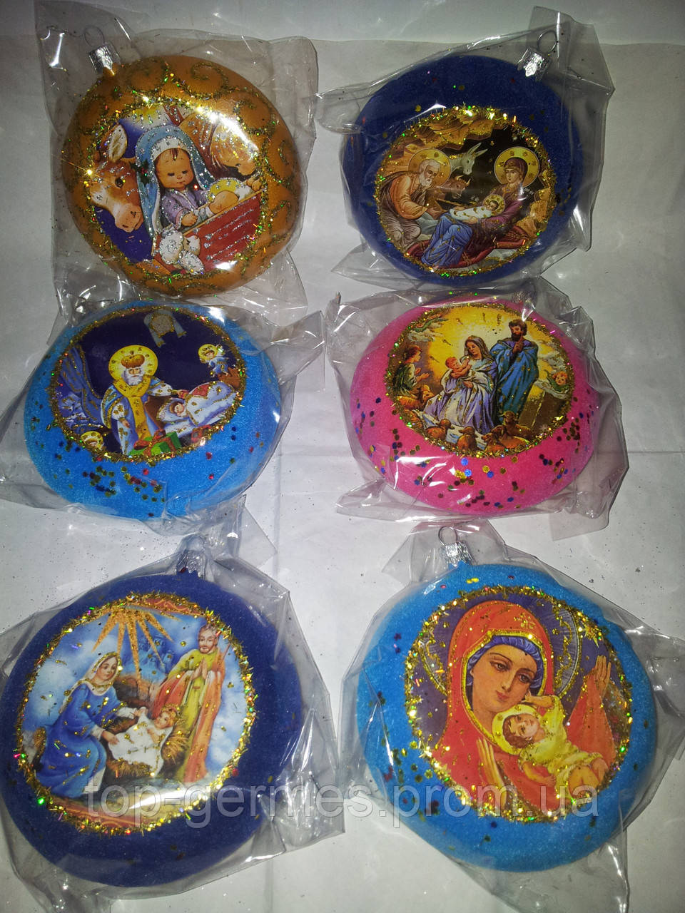 Новогодние шары медаль религия- 6шт