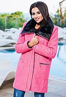 Розовое кашемировое пальто, батал, воротник- кожа+мех. Арт-9272/57