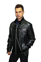 Куртка мужская из натуральной кожи (овчина) в классическом черном цвете, фото 1