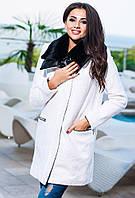 Белое  кашемировое пальто, батал, воротник- кожа+мех. Арт-9272/57