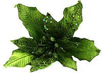 Новогодний декор Пуансетия 32см с клипом зеленая 750213