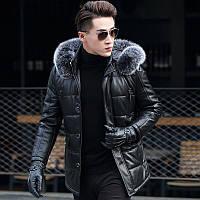 Мужская зимняя дубленка, натуральная кожа,мех Модель 944