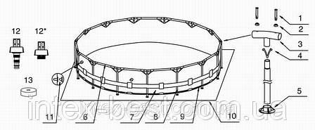 Intex 28210 - каркасный бассейн Metal Frame 366x76 см, фото 2