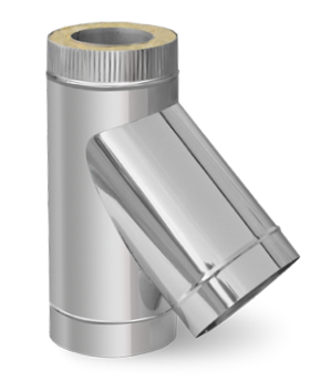 Двустенный сэндвич тройник 45° ф140/200 (нержавейка 1 мм в оцинковке) на дымоходы