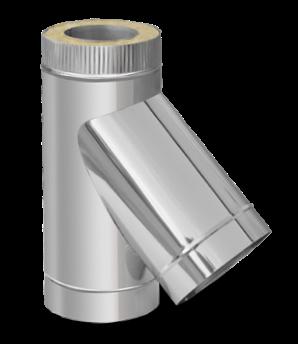 Термоизолированный сэндвич тройник 45° ф125/200 (нержавейка 0,6 мм в оцинковке) на дымоход