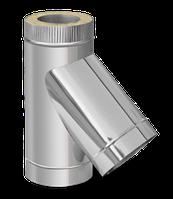 Термоизолированный сэндвич тройник 45° ф120/180 (нержавейка 0,6 мм в оцинковке) на дымоход