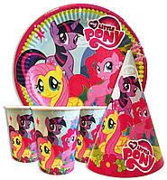 """Набор для детского дня рождения """"Маленькие Пони"""". Тарелки, стаканчики и колпачки по 10шт."""
