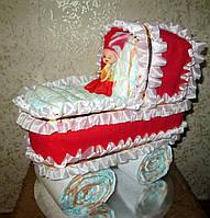 Оригинальный подарок на рождение ребёнка - коляска из памперсов