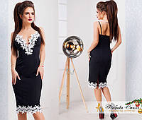 Вечернее платье на бретеляхукрашено кружевом, фото 1