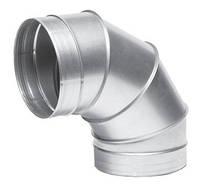 Отвод 90°оцинкованный вентиляционный круглый 90-710