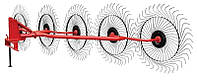 Грабли-ворошилки Wirax 5 cколес BR на круглой трубе,оцинкованная спица 5 мм.