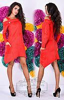 Красивое красное  замшевое платье с открытыми плечами, змейка на спине и на рукавах. Арт-9277/41
