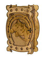 "Настенная деревянная ключница ""Подкова на удачу"". Ручная работа"