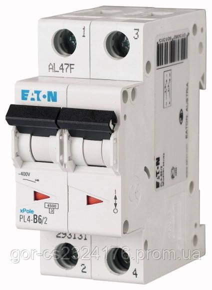 Двухполюсный автоматический выключатель 20А EATON PL4-C20/2