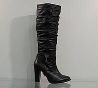 Зимние кожаные сапожки на каблуке