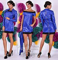 Ультрамодное  платье из эко-кожи с кружевом+болеро, цвет электрик. Арт-9279/41