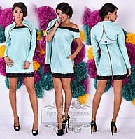 Ультрамодное  мятное  платье из эко-кожи с кружевом+болеро. Арт-9279/41
