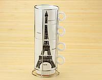 Набор чашек на подставке Париж ( Оригинальные подарки )
