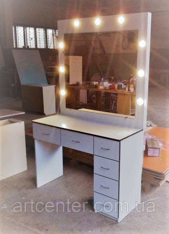 Стол белый с черной кромкой с зеркалом для визажиста, парикмахера
