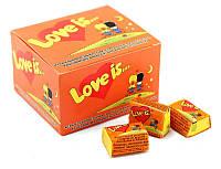 Блок жвачек Love is оранжевый (апельсин-ананас), подарки на 14 февраля
