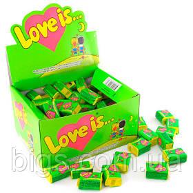 Блок жвачек Love is салатовый (яблоко-лимон), подарки на 14 февраля