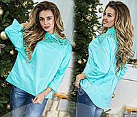 Блуза молодежная с вставками из кружева-макраме