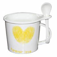 Чашка с крышкой и ложкой Forever Love, 300мл (подарки на 8 марта)
