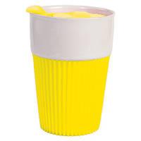 Термостакан Пластиковый с крышкой Желтый (пищевой пластик)