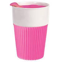 Термостакан Пластиковый с крышкой Розовый (пищевой пластик)