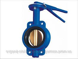 Затвор поворотний Ду40 Ру16 дисковий міжфланцевий батерфляй з чавунним хромованим диском