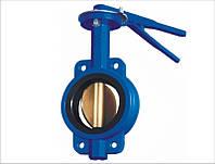 Затвор поворотний Ду150 Ру16 дисковий міжфланцевий батерфляй з чавунним хромованим диском
