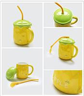 Кружка с крышкой и ложкой-трубочкой Ананас 500 мл (чашка фрукт)