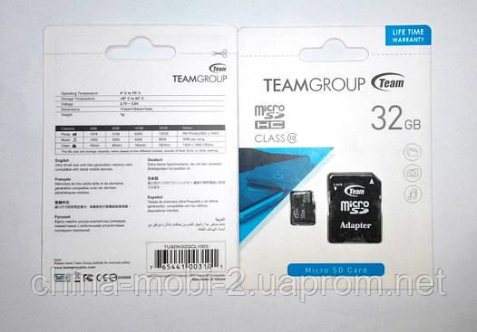 Карта памяти microSD 32GB class 10 + SD Adapter, Team Group Inc, фото 2
