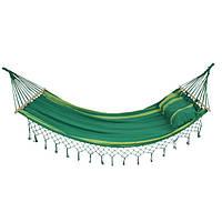 Гамак хлопковый двухместный с подушкой 220*160см Зеленый рай