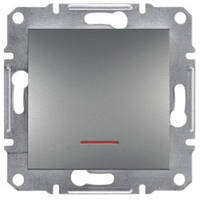 Выключатель проходной 1-клавишный с подсветкой, сталь - Schneider Electric Asfora