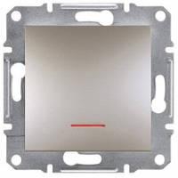 Выключатель проходной 1-клавишный с подсветкой, бронза - Schneider Electric Asfora