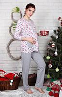 Пижама для беременных и кормящих мам Sugar light котики+серый меланж