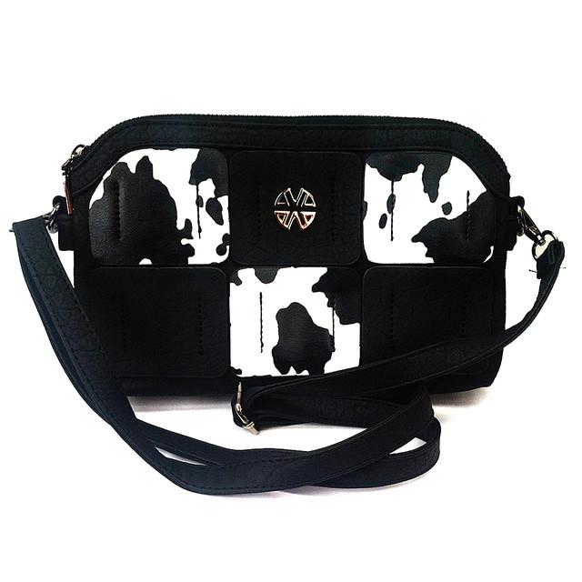 Черный стильный женский клатч с животным принтом